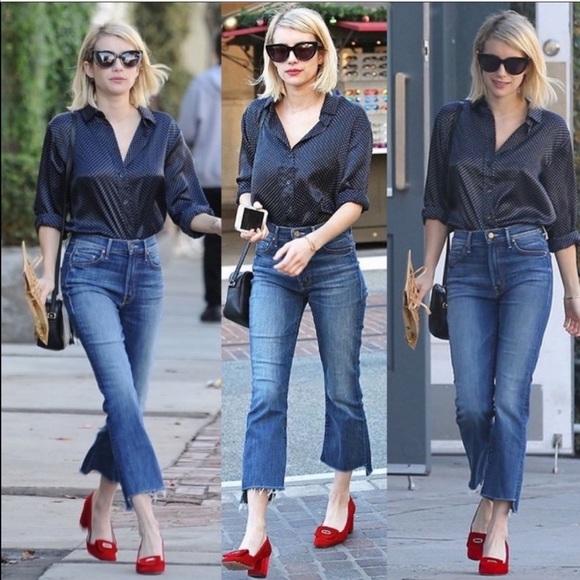 Mother denim insider crop step flare jeans